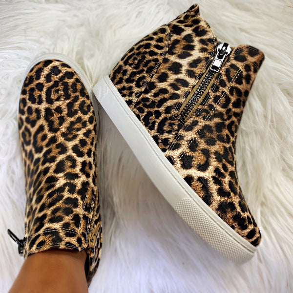 After Party Leopard Zipper Detail Wedge Booties