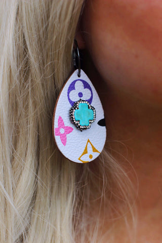 LV Turquoise Pave White Multicolor Teardrop Earrings