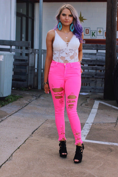 Neon Pink Babe Distressed Skinny Jeans