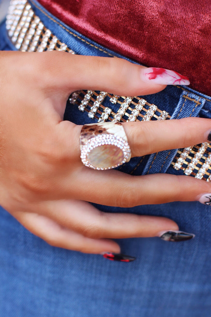 Gray Snake Print Abalone Pave Crystal Stone Ring