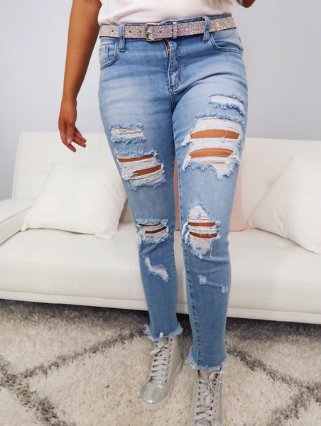Casey Light Wash Distressed Frayed Ankle Skinny Jeans