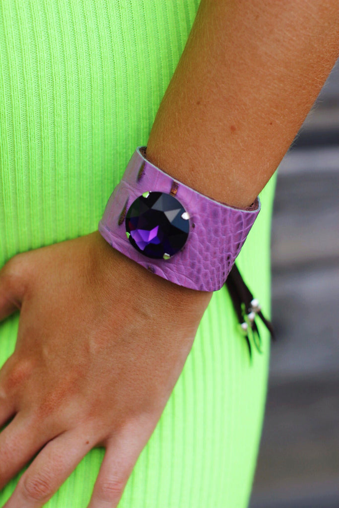 Purple Crystal Croc Cuff Bracelet