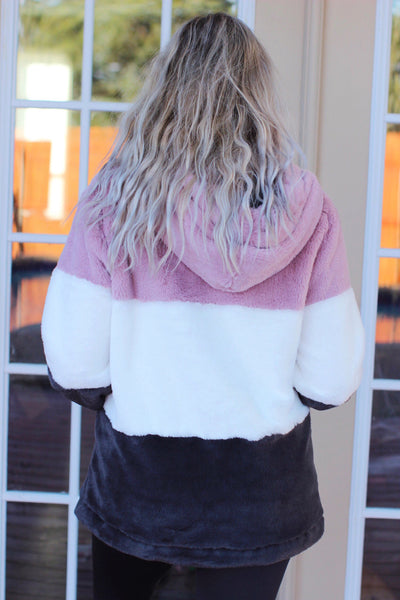 Wine And Chill Mauve White Charcoal Furry Hoodie Pullover