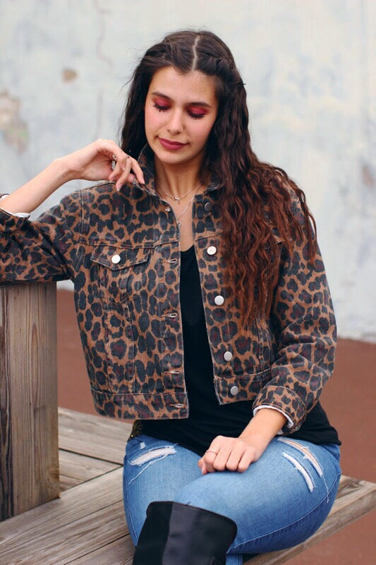 Leopard Print Cropped Denim Jacket