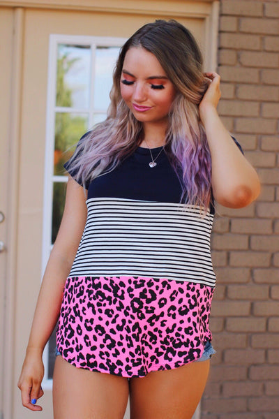 Hold The Line Navy Striped Neon Pink Leopard Top