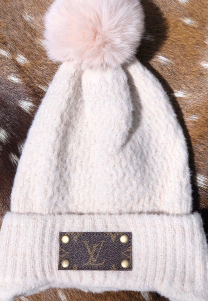 LV White Beanie with Pom Pom