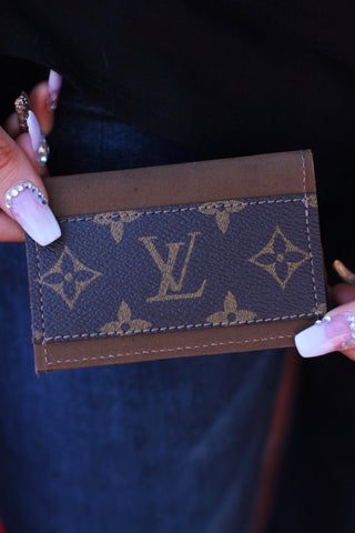 LV Brown Suede Credit Card Holder