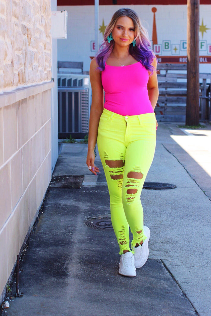 Neon Yellow Distressed Skinny Jeans