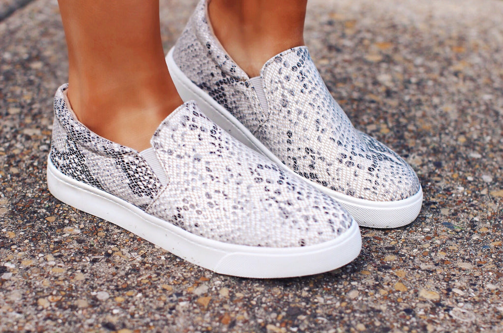 Python Snake Print Slip On Sneakers