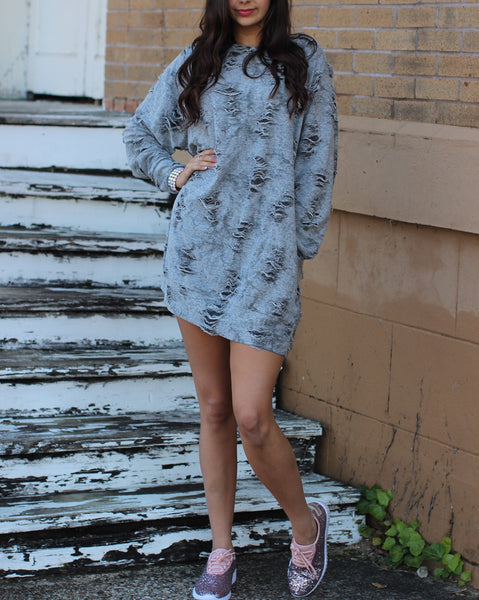 Distressed Charcoal Pullover Dress