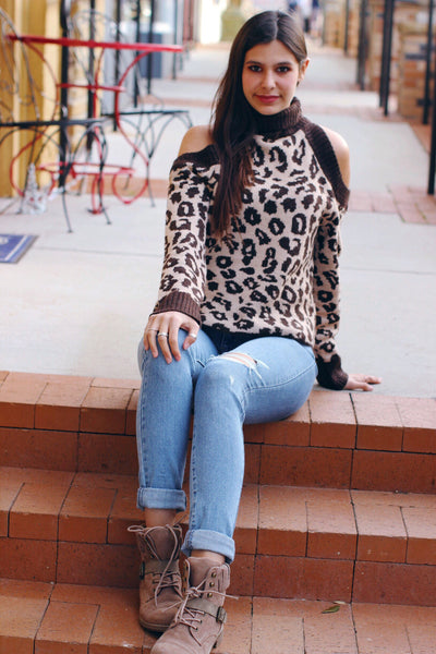 Animal Attraction Open Shoulder Leopard Turtle Neck Sweater