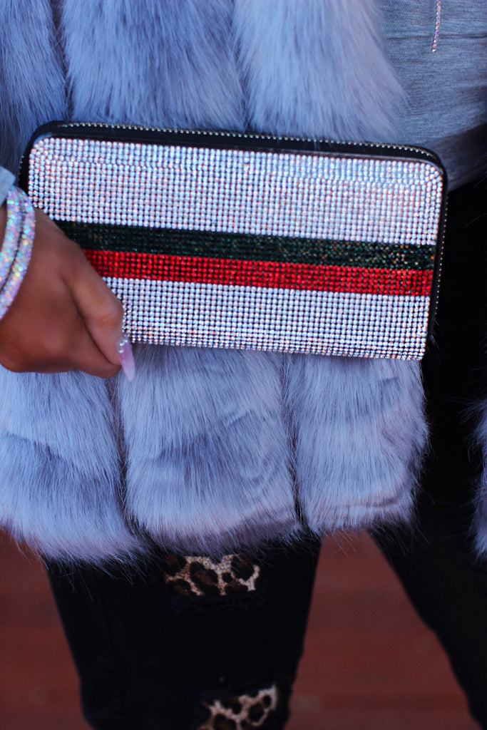 Crystal with Red Green Stripe Gucci Inspired Wallet