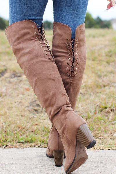 Step Into Style Taupe Faux Suede Over The Knee Boots