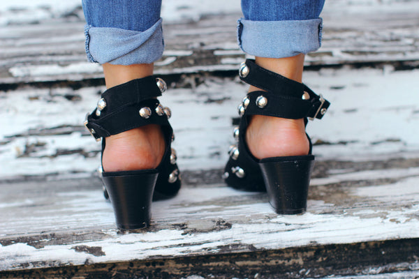 Jolene Black Studed Ankle Strap Booties