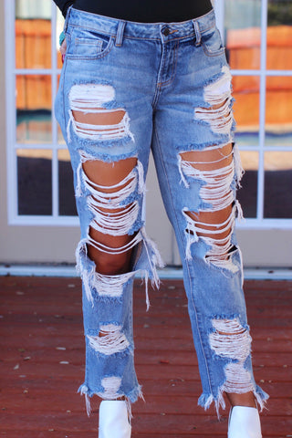 Drop Everything Lightwash Midrise Destroyed Boyfriend Jeans
