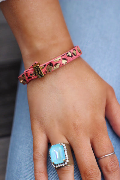 Erimish Coral Leopard Leather Bracelet