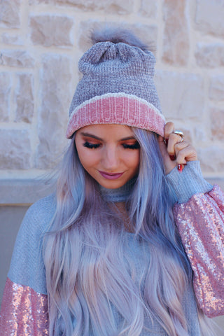 Gray and Pink Fur Ball Beanie