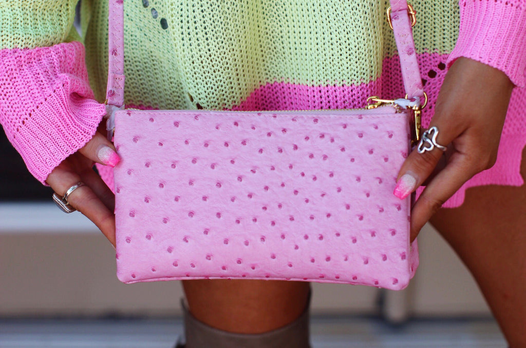 Pink Ostrich Print Crossbody Purse