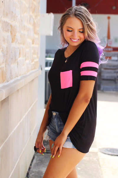 Good Vibes Black Neon Pink Striped Sleeve Pocket Top