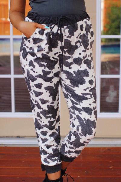 Charcoal White Cattle Print Joggers