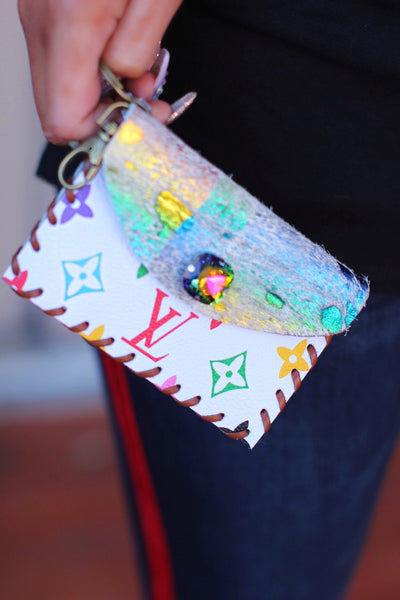 LV White Rainbow Cowhide with Multicolor Crystal Stone Credit Card Holder