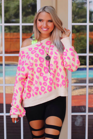 Lattes and Lounging Neon Pink Yellow Cream Sweater