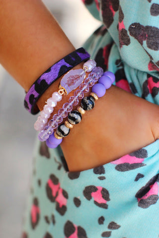 Purple Leopard Druzy Beaded Bracelet Set