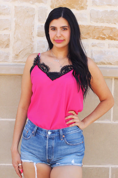 Fuchsia with Black Lace Camisole Top