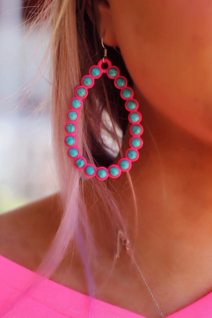 Neon Pink Turquoise Open Wren Earrings