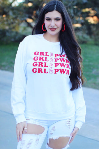 Girl Power White with Red Print Sweatshirt