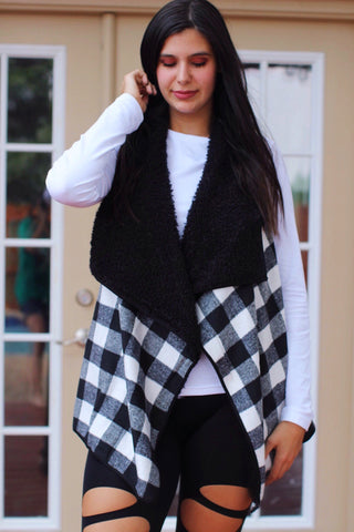 Fall Harvest Black and White Buffalo Plaid Fur Lined Vest