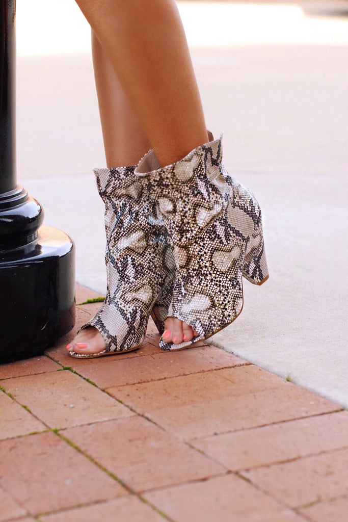 Snake Chunky Heel Open Toe Booties