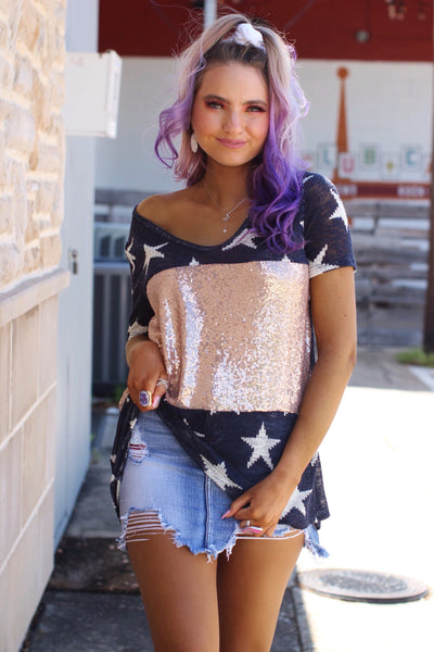 Navy Rose Gold Sequin Star Top
