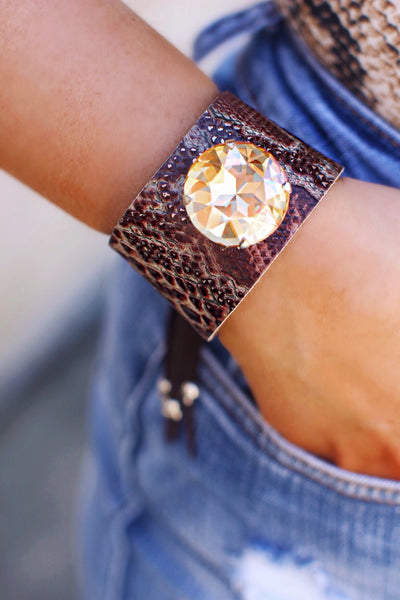 Dark Snake Print Leather Large Bling Stone Cuff Bracelet