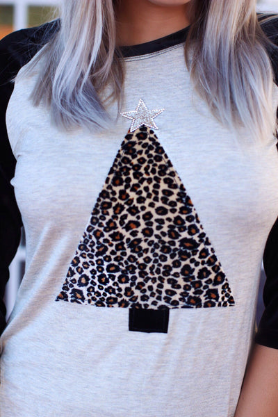 Black Velvet Sleeve Heather Gray Leopard Tree with Bling Star Raglan