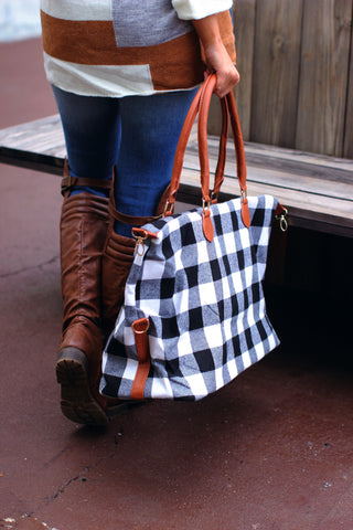 Buffalo plaid Weekender Bag- White and Black