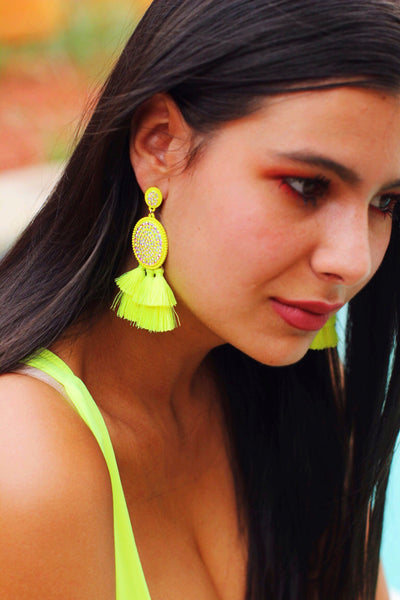 Neon Moon Oval AB Crystal Neon Yellow Tassel Earrings