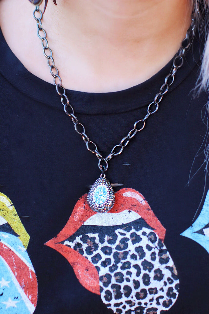 Black Chain Black with Blue Pave Necklace