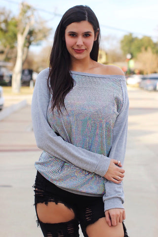 Feeling Affectionate Heather Gray Hologram Sequin Pullover