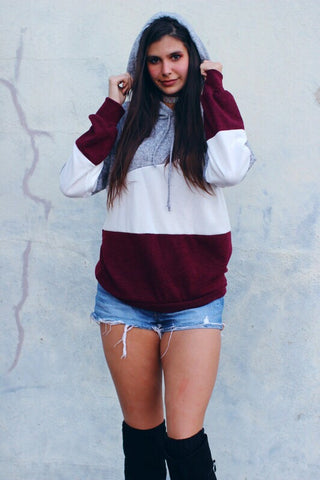 Bethany Maroon Color Block Hoodie Top