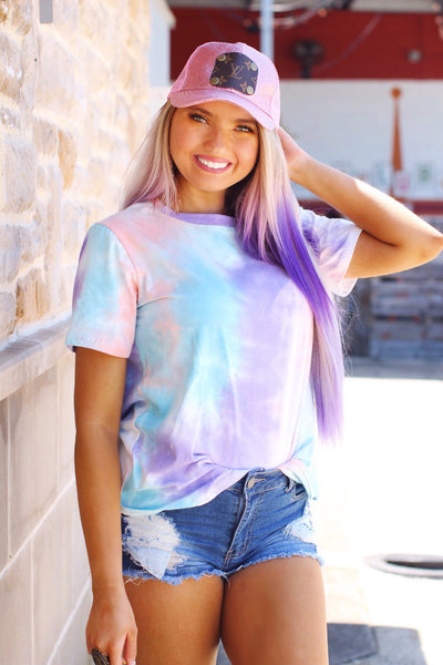 Poolside Lounging Short Sleeve Tie Dye Lavender Mix Top