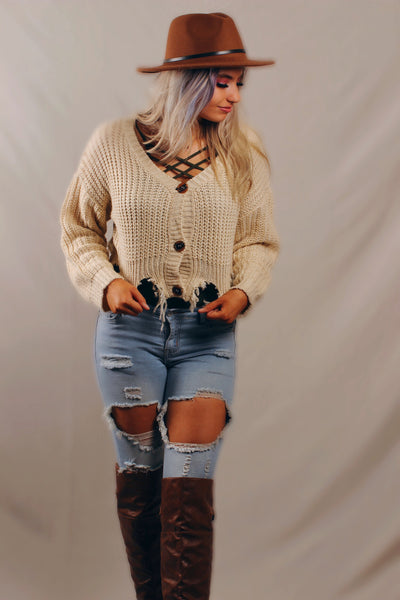 Lexi Distressed Button Down Cropped Sweater