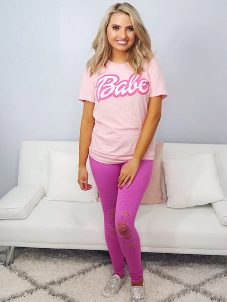 Locker Room Talk Berry Pink Distressed Leggings