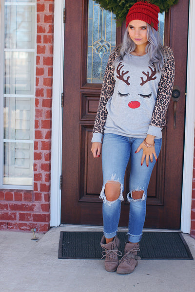 Leopard Rudolph Lashes and Lipstick Christmas Top