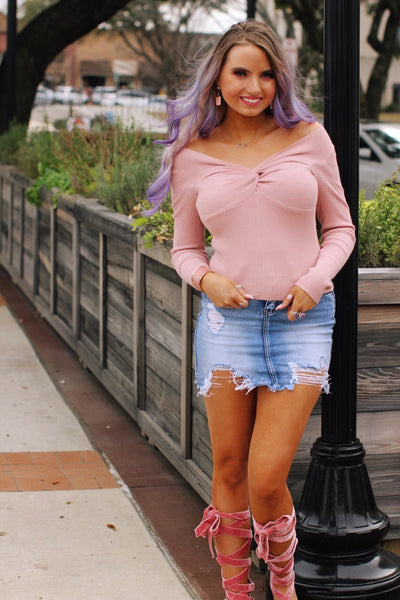 Pink Knot Front Knit Top