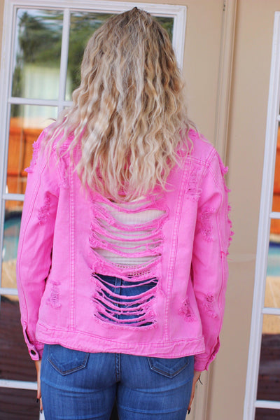 Valley Babe Pink Distressed Denim Jacket