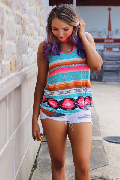 Sunset Sips Neon Pink Cut Out Neck Aztec Knotted Top