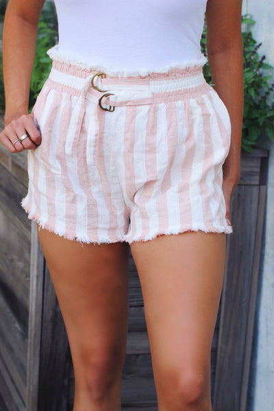 Bon Voyage Blush White Frayed Edge Pocketed Shorts