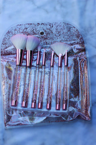 Pink Liquid Sparkle Brush Set