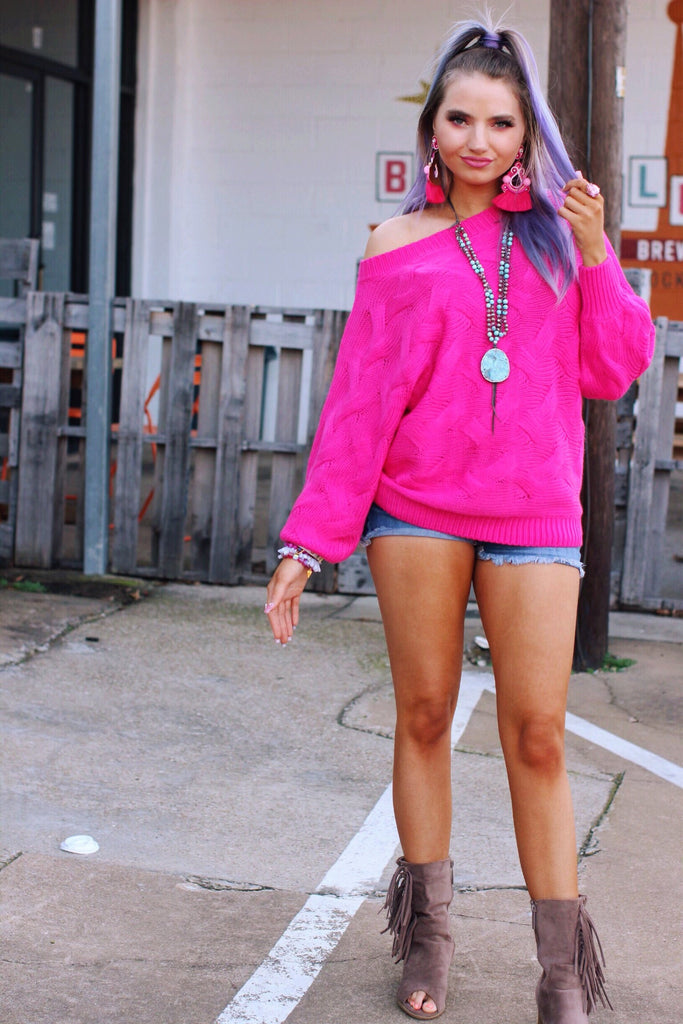 May Fuchsia Cable Knit Sweater